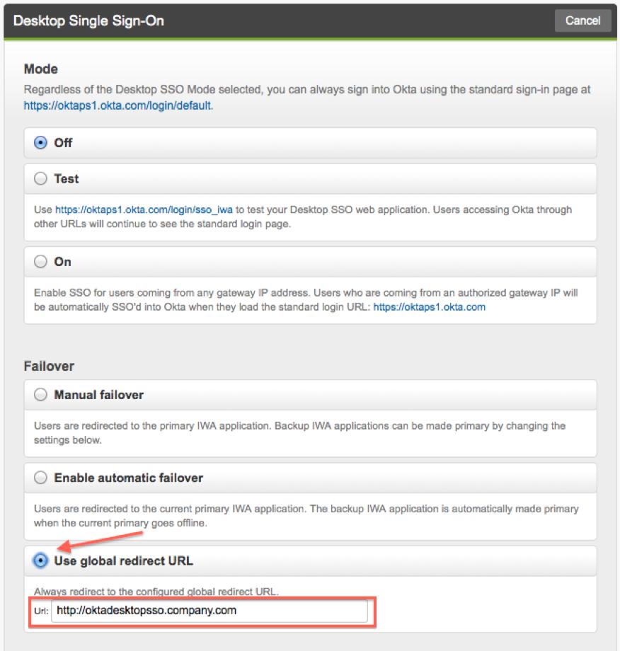 Okta DSSO - global redirect URL